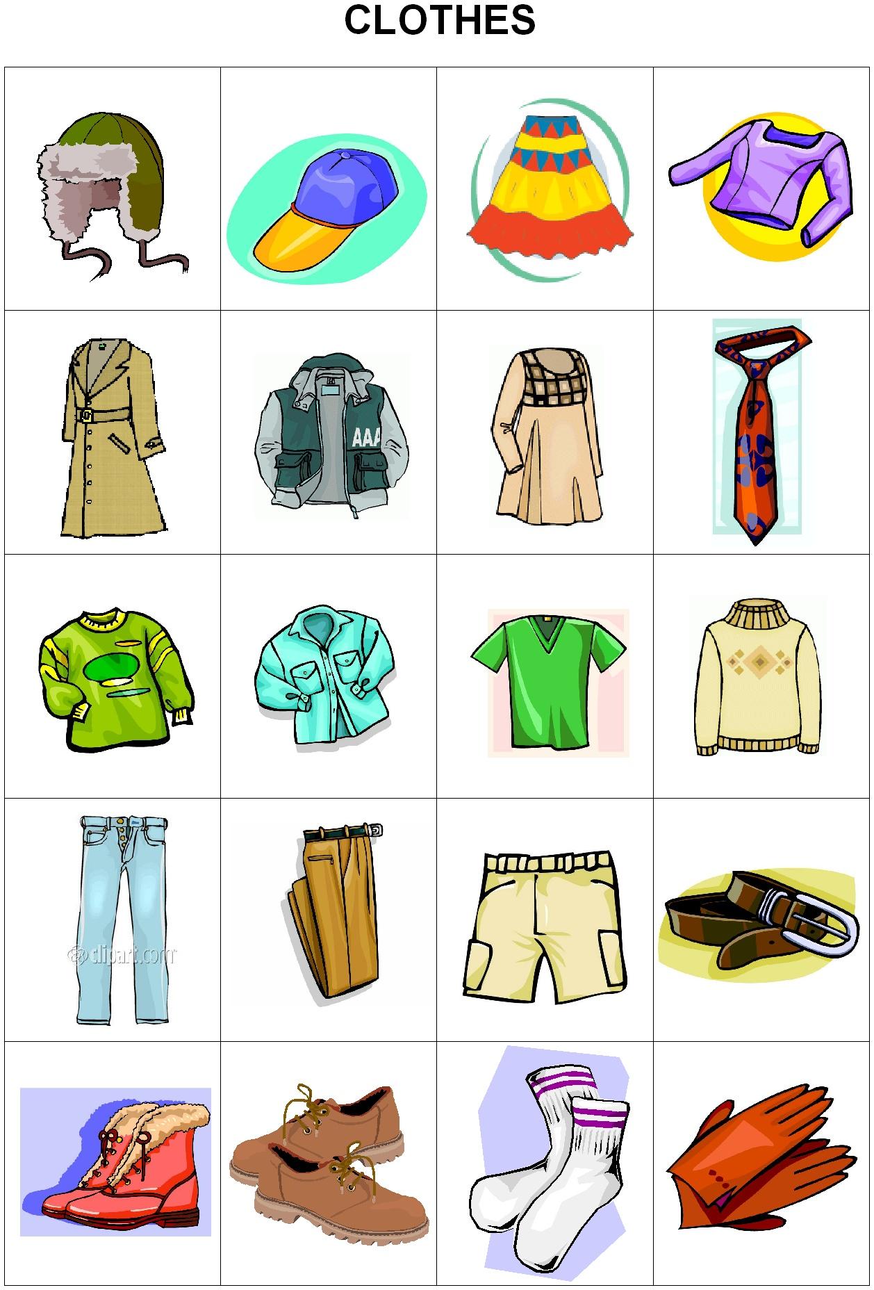 Oblečení slovíčka angličtina